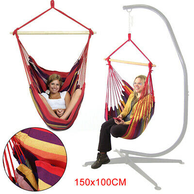 100*150cm Swinging Hanging Garden Home Fabric Hammock Chair inc solid wood stick