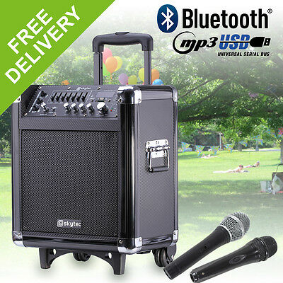 Skytec ST065 Portable Battery Powered Active Guitar Amplifier Vocal PA MP3 8""