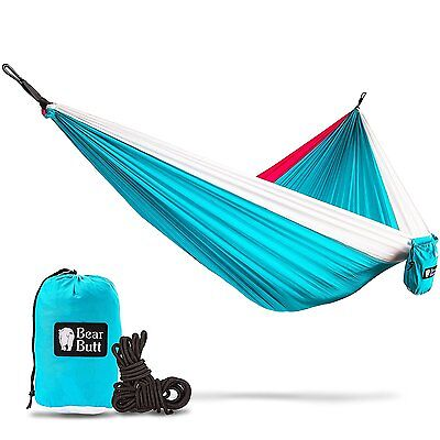 """Bear Butt #1 Double Parachute Camping Hammock *START UP COMPANY """"Shaking The Out"""