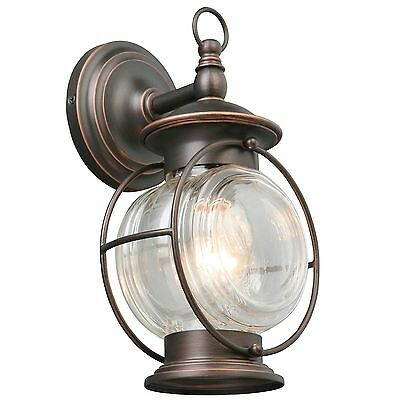 Oil-Rubbed Bronze Glass Outdoor Entryway Porch Wall Mount Lighting Fixture