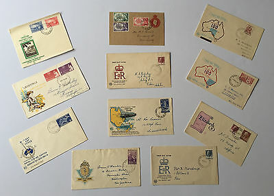 11 First Day Covers with Stamps 1953 / 1957 - Free Postage