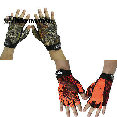 Outdoor Half Finger Gloves Camo Waterproof Skidproof Fishing Camping Portable