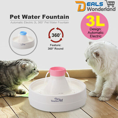 Beaconpet Automatic Electric 3L 360° Pet Water Fountain Dog Cat Waterfall Drinki