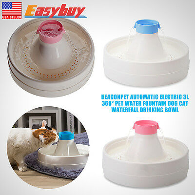 3L 360°Automatic Electric Pet Water Fountain Dog Cat Waterfall Drinking Bowl New