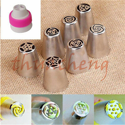 New 7pcs Russian Tulip Icing Piping Nozzles Cake Decoration Tips Baking Tool