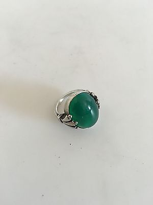 Georg Jensen Sterling Silver Ring #51 with Green Agate