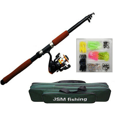 2.1M/2.4M Portable Telescope Spining Fishing Rod and Reel Combos Kits Saltwater