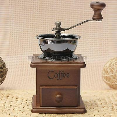 Manual Coffee Bean Nut Spice Herbs Grinder Antique Style Hand Wooden Burr Mill