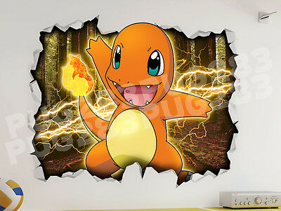 Pokemon go 3d style smashed wall sticker kids childrens for Ash wallpaper mural