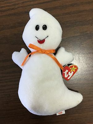 Ty Plush White SPOOKY GHOST Stuffed Animal Beanie Baby W/Tags 1995 Halloween