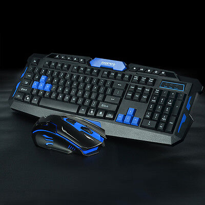 HK8100 2.4G Wireless Gaming Keyboard+Game Mouse Set Combo for PC Laptop Desktops