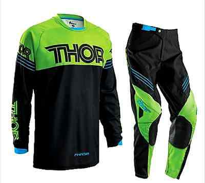 THOR MOTOCROSS PANTS & JERSEY COMBO 2016 NEW! Kaw Green #32 #34 #36 #38 #40 MX