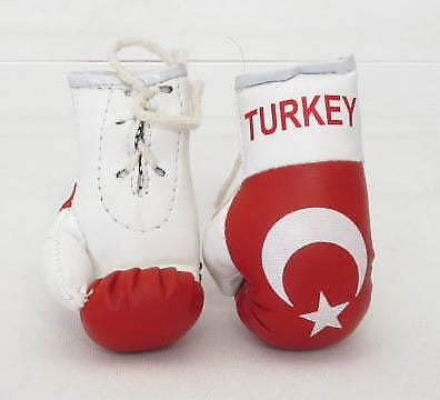 Mini Boxing Gloves Turkey Flag Leather Style Car Mirror Accessories