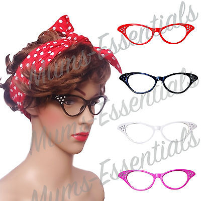 RETRO 60s / 50s ROCKABILLY Glasses HEN DO COSTUME accessories Fancy Dress GREASE