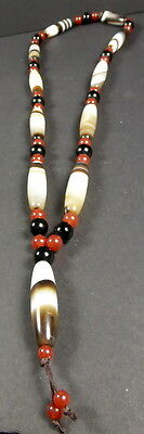 NEWLY CREATED HIMALAYAN BANDED AGATE BEAD NECKLACE.  CHUNG dZi from NEPAL.