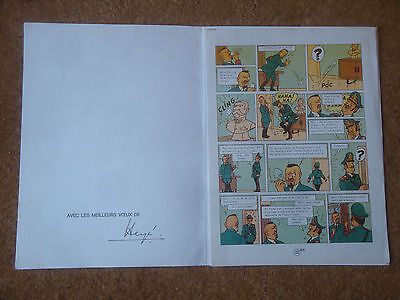 Herge Genuine Signed Folder with the famous 22a Tintin & the Picaros page