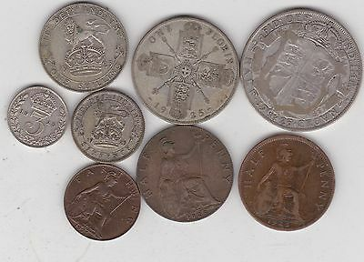 1925 George V Set Of 8 Coins In Fair Or Better Condition