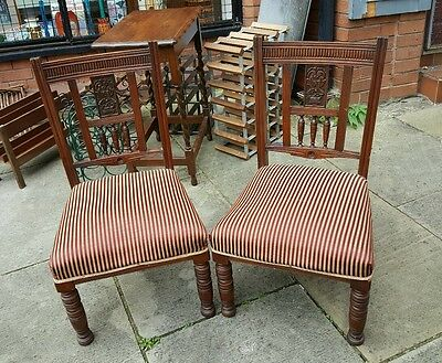 Pair Edwardian Solid Mahogany Nursing/side Chairs Cushioned Seats Carved Backs