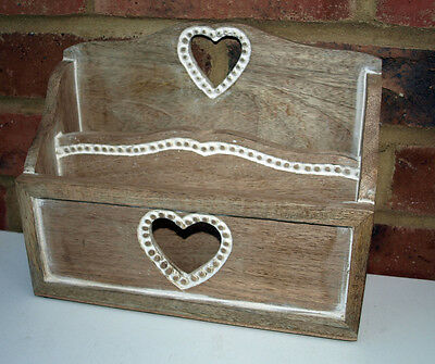 Letter Rack Country Style Wooden Heart Curved Shabby Chic 26cm x 20cm Wood New