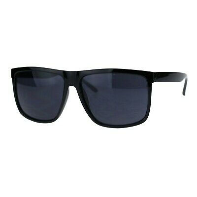 Super Dark Black Lens Men's Sunglasses Classic Square Frame Black