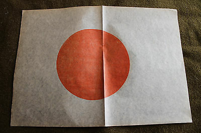 Original WW2 Japanese Rice Paper 'Meatball' Flag, Great Size, 14'' by 10''
