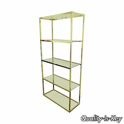 Vintage Mid Century Modern Gold Hollywood Regency Brass & Glass Etagere Bookcase