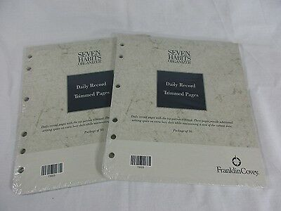2X Franklin Covey Daily Record Trimmed Pages Refill Planner Monarch Seven Habits