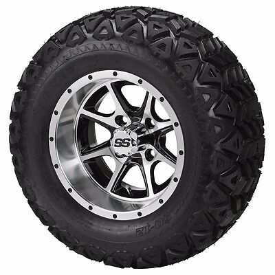 Set of 4 - 23x10.5-12 Tire on a 12x7 Black/Machined Type 8 Wheel w/FREE freight