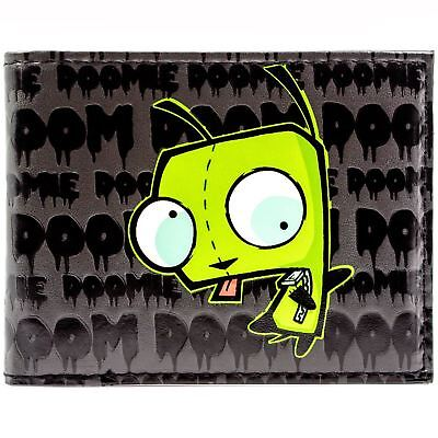 New Official Nickelodeon Invader Zim Impending Doom Black Id Card Bi-Fold Wallet