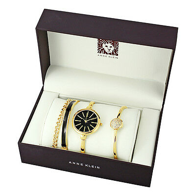 Anne Klein Gold and Black Ladies Watch and Bracelet Set 1470GBST