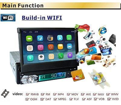 "In-dash 7"" 1 DIN Car Stereo Player GPS Navigatio Bluetooth Android Radio WIFI"