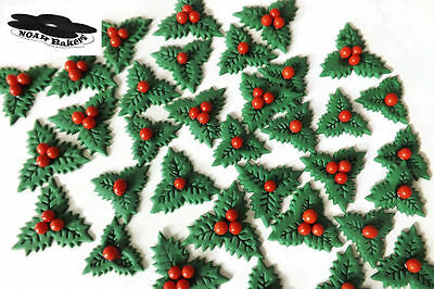 Edible Holly Leaves Sugar Red Berries Christmas cake wedding birthday toppers