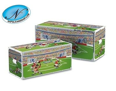 Coppia Set 2 Bauli Cassapanche In Legno Ed Ecopelle Looney Tunes Football Warner