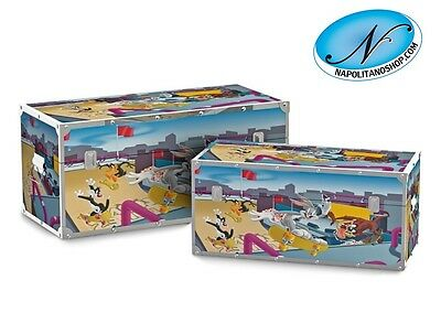 Set 2 Bauli Cassapanche In Legno E Ecopelle Looney Tunes Skateboard Warner Bros