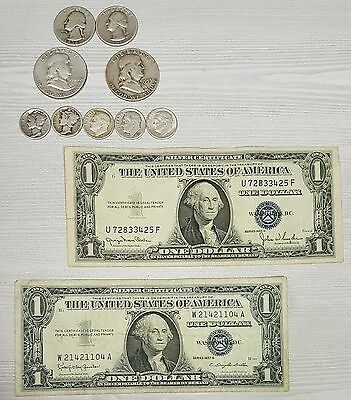 Silver Coins Lot $2 Face 90% Silver and TWO $1 Silver Certificates