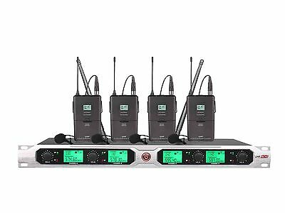 4-Channel UHF Lavalier Tie Clip Wireless Microphone Mic System