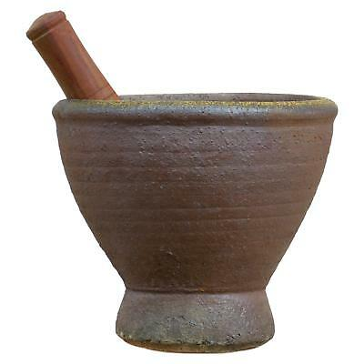 Large Heavy Thai Lao Earthenware Mortar and Hardwood Pestle 10 inch