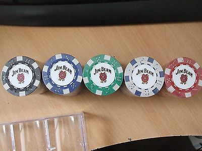 5 x jim beam poker chips (5 different colours)