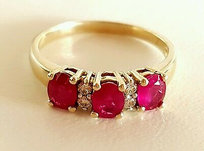 9ct Yellow Gold Ladies Natural Ruby and Diamond Ring