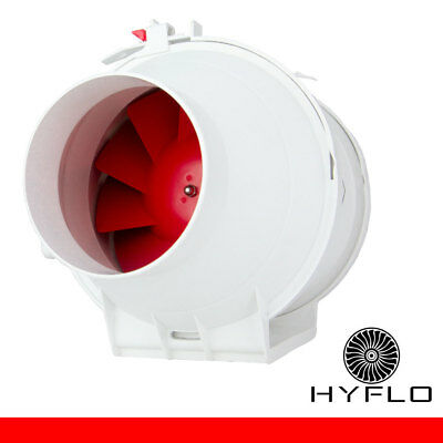 Exhaust Fan Inline Hot or Cold Air Transfer Extraction 10cm Mixflow HyFlo 100mm