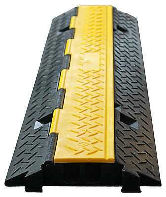 2 Channel Cable Cover - Heavy Duty Rubber - Industrial Strength - 1M