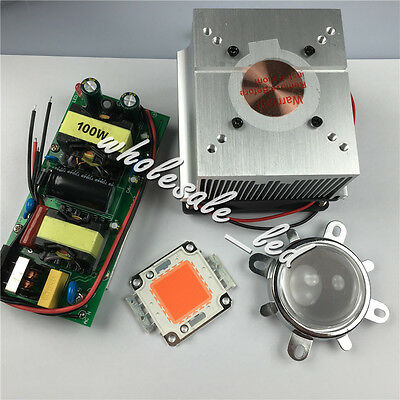100W 380-840nm Full Spectrum High power led+LED Driver+Heat sink fans+lens DIY