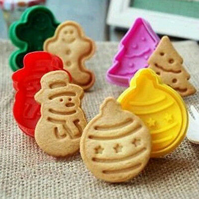 4Pcs Christmas Fondant Pastry Cookies Plunger Cutter Mold Mould Cake Decoration