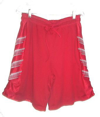 Red with White Square Polka Dots Revesable Long Shorts Swimsuit Trunks Sz L