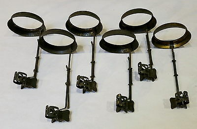 6 Antique Butterfly Holders For Candlestick Shades & Bead Trims