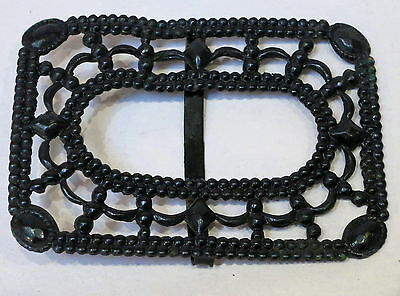 Antique Victorian Black Pressed Metal Belt Buckle #2
