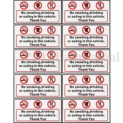 No Smoking Eating Drinking in This Vehicle Signs Sticker Car Taxi Bus Decal Boat