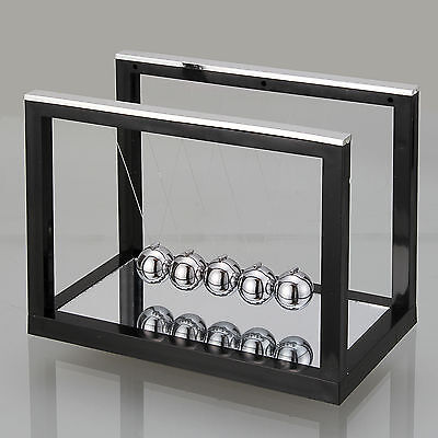 Black Newtons Cradle Steel Balance Ball Physics Science Fun Toy Accessory Gift