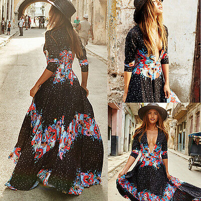 Boho Women Maxi Vintage Floral Skirt Sundress Summer Party Evening Beach Dress