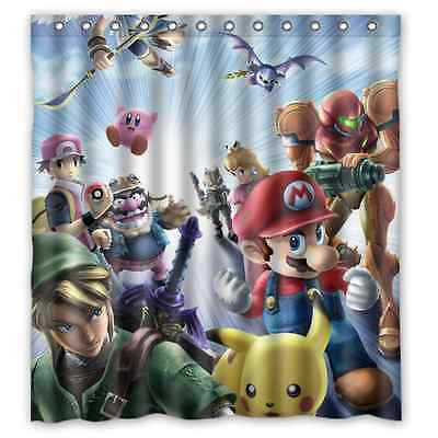Brand New Nintendo Pikachu Mario Waterproof Bathroom Shower Curtain 66 x 72 Inch